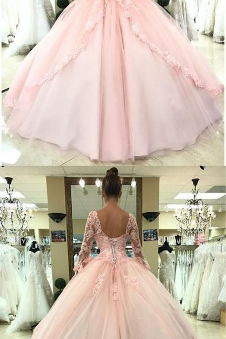 Charming Prom Dress, Long Sleeve Tulle Ball Gown Prom Dresses, Appliques Formal Evening Dress