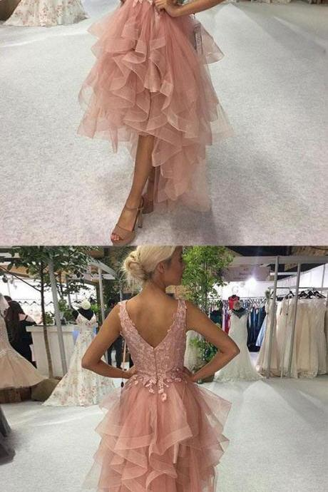 Charming V Neck Appliques Tulle High Low Ruffles Prom Dresses, Long Evening Dresses