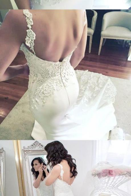 Charming Backless Mermaid Wedding Dresses, Sexy Appliques White Bridal Dresses