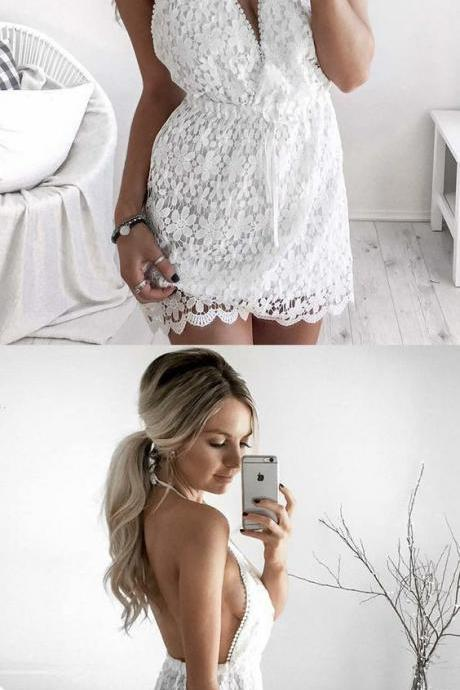 Charming Prom Dress, Sexy Lace Short Prom Dresses, Sexy Backless Cocktail Dress