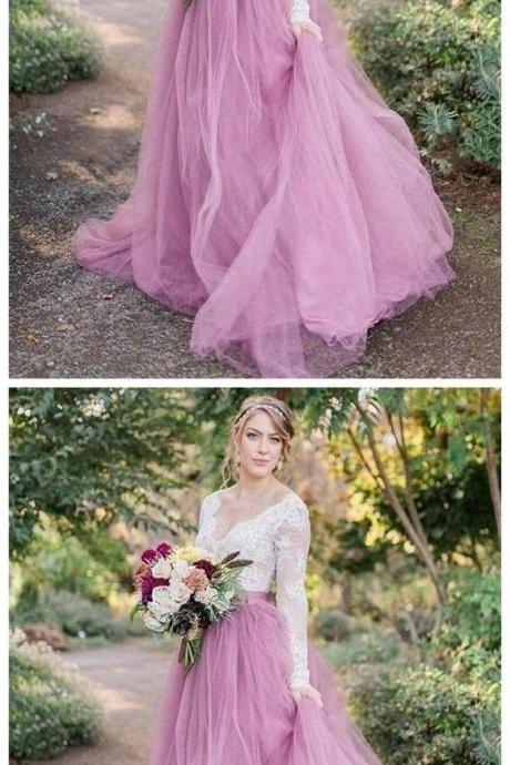 Charming Prom Dress, Long Sleeve Appliques Tulle Prom Dresses, Formal Evening Dress