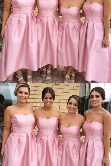 Charming Bridesmaid Dress, Elegant Pink Strapless Bridesmaid Dresses