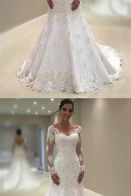 Full Sleeve Appliques Mermaid Wedding Dresses, Elegant White Bridal Dresses