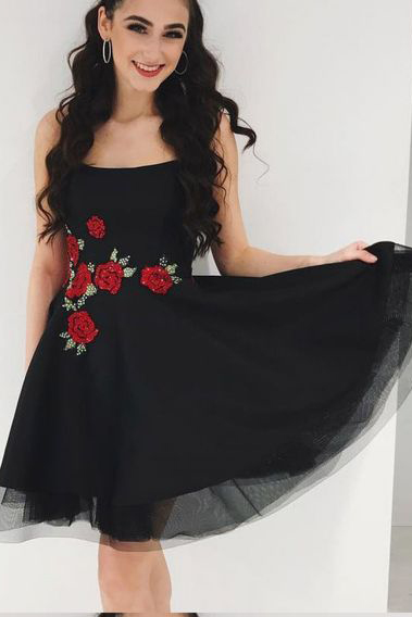Short Homecoming Dress, Tulle Black Homecoming Dresses, Elegant Prom Dress