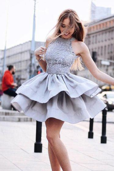 Short Homecoming Dress, Beaded Homecoming Dresses, Appliques Prom Dress