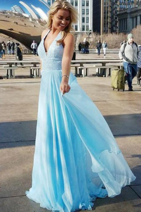 Charming Prom Dress, Sexy Blue Prom Dresses, Long Evening Dress