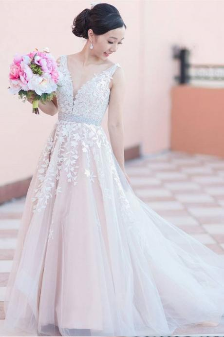 Charming Wedding Dress, Appliques Tulle Wedding Dresses, Sexy Wedding Gowns