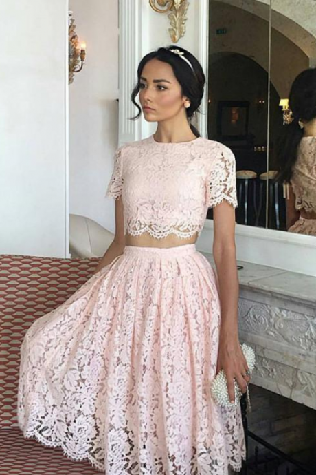 Charming Prom Dress, Two Piece Lace Prom Dresses, Elegant Pink Homecoming Dress