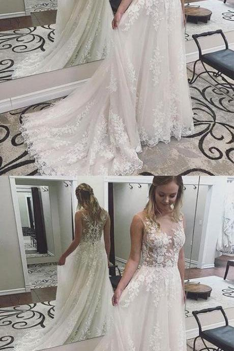 Charming Wedding Dress, Sexy Appliques Wedding Dresses, Tulle Bridal Dresses