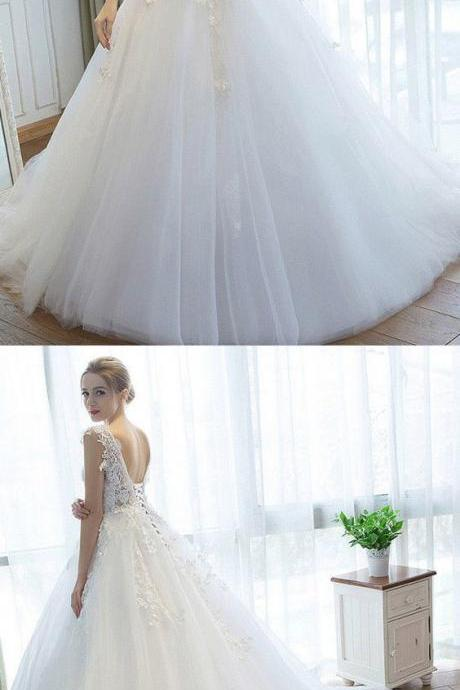 Cap Sleeve Tulle White Ball Gown Wedding Dress, Elegant Formal Wedding Gown