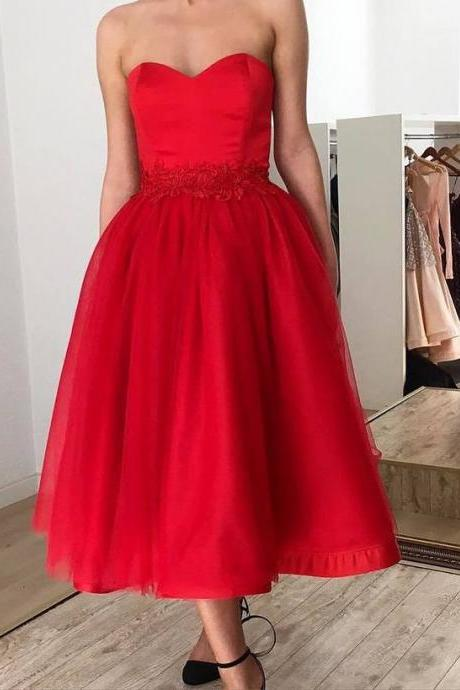 Strapless Red A Line Tulle Prom Dresses, 2019 Homecoming Dress