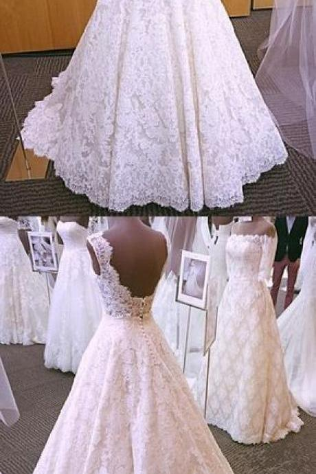 Lace A-Line Wedding Dresses, Vintage Formal Bride Dresses
