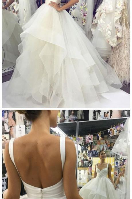 2019 Backless White Ruffles Ball Gown Wedding Dress, Sexy Bridal Dresses