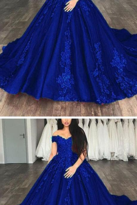 Off the Shoulder Appliques Ball Gown Prom Dresses, Dark Blue Formal Evening Dresses