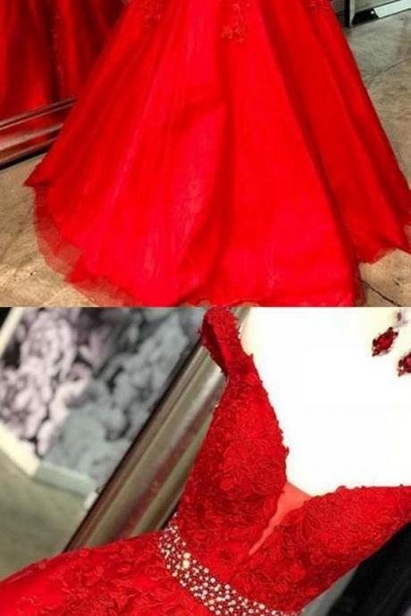 Off the Shoulder Red Tulle Appliques Prom Dresses, Formal Evening Dress