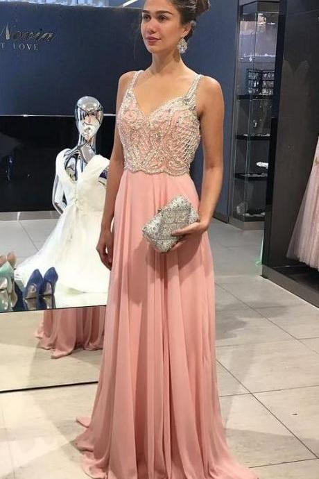Charming Chiffon Long Evening Dress with Beading, Sexy Straps Prom Dresses