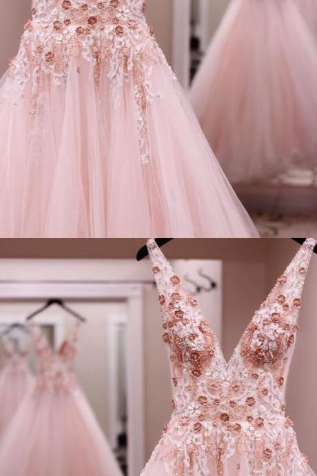 Charming Sleeveless Deep V neck Tulle Long Prom Dress with Beading