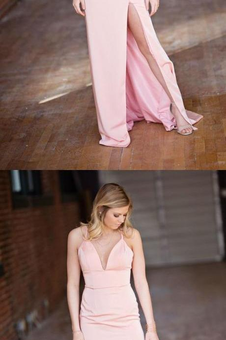 Charming Pink Straps Mermaid Evening Dresss with Slit, Sexy Long Prom Dress