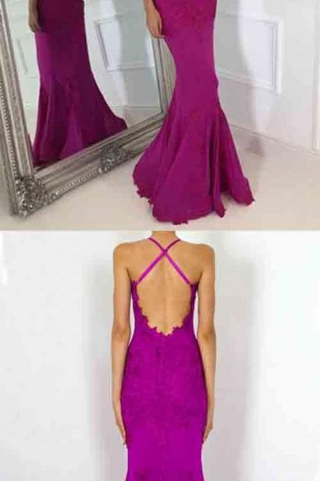Mermaid Backless Lace Evening Dresss, Sexy Sheath Long Prom Dress