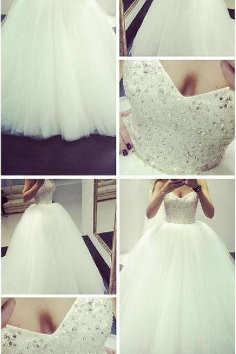 Fashion White Tulle Ball Gown Wedding Dress, Sexy Beading Wedding Gown, Charming Bridal Gown