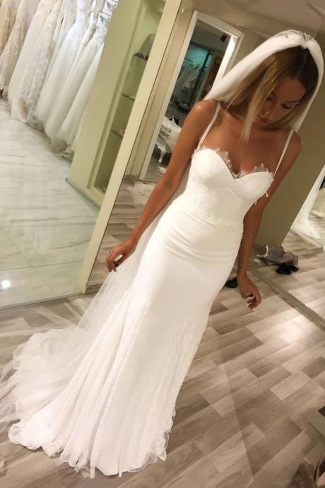 Mermaid Spaghetti Straps White Tulle Wedding Dress, Sexy Bridal Dress Vestido de novia
