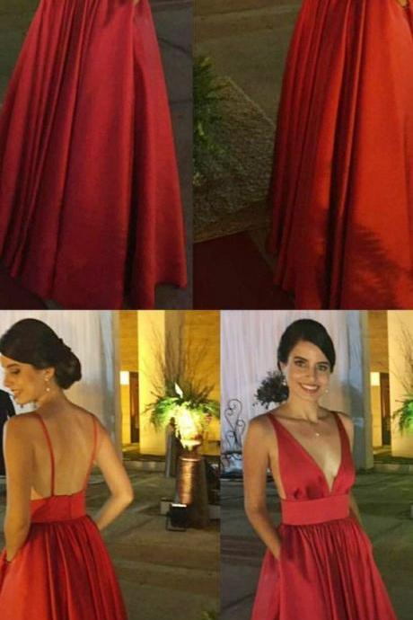Sexy Open Back Red Long Prom Dress, Deep V neck Evening Party Dress