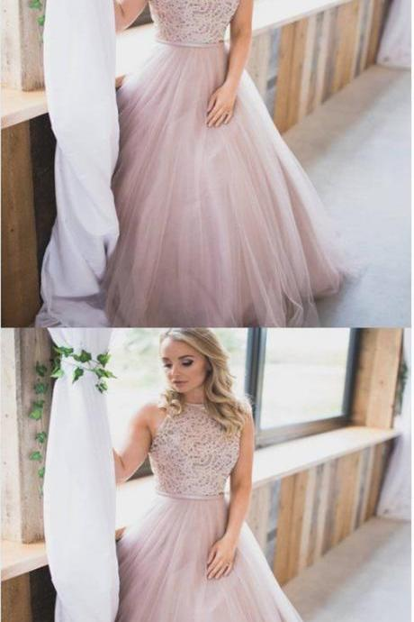 Elegant Tulle Long Prom Dress with Appliques, Pink Formal Evening Dress