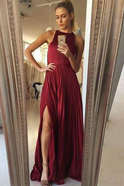 Split Slit Burgundy Long Prom Dress, Charming Long Party Dress