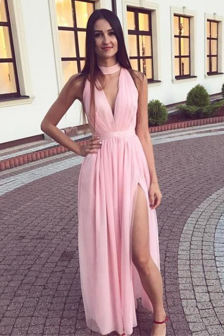 Sexy Pink Tulle Long Prom Dress, Split Slit Party Gown for Teens