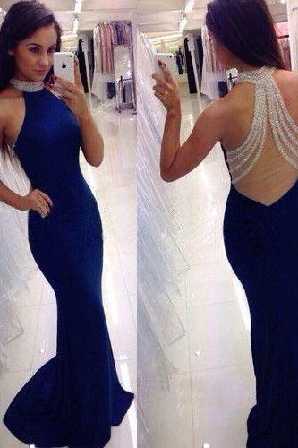 Sexy Dark Blue Mermaid Long Prom Dress, Charming Long Party Dress