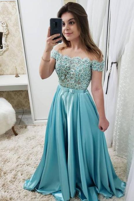 Charming Blue Appliques Long Prom Dress, A Line Formal Evening Dress