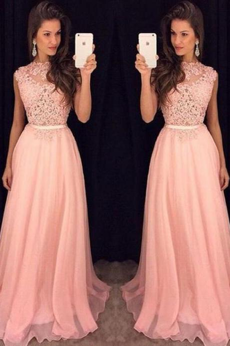 Appliques Lace Top Pink Chiffon Evening Dress, Elegant Long Prom Dress, 2019 Homecoming Dress
