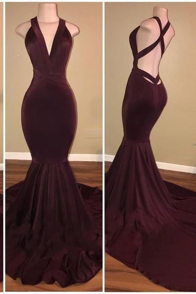 Sexy Mermaid Long Evening Dress, Charming Open Back Dark Burgundy Prom Dress