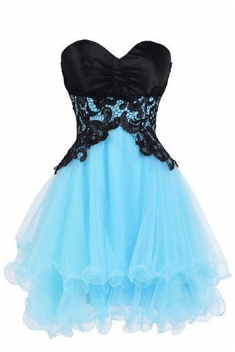 Sexy Blue Tulle Mini Homecoming Dress, Black Lace Short Prom Dress, 2019 Cute Party Gown