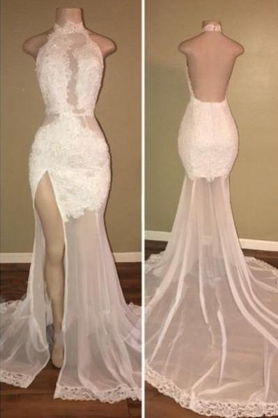 Charming Backless Appliques Split Slit Mermaid Evening Dress Long Prom Dress