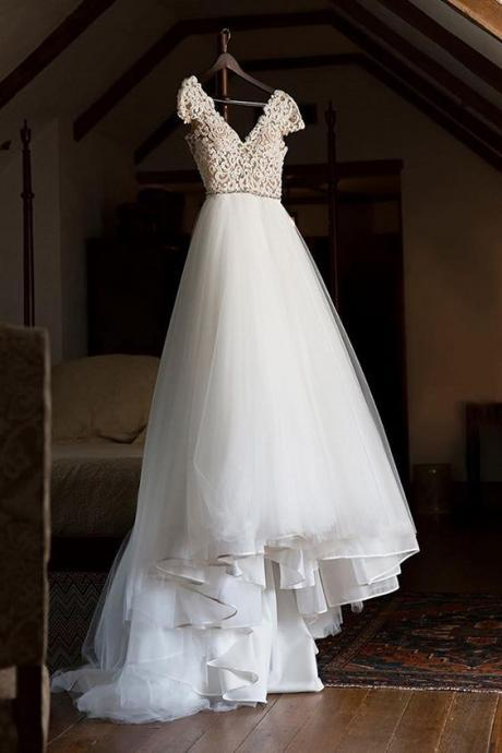Cap Sleeve Appliques Lace Tulle Wedding Dress, Formal Bridal Gowns