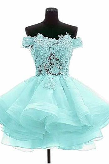 Elegant Blue Tulle Light Blue Homecoming Dresses, Off Shoulder Appliques Short Prom Dresses