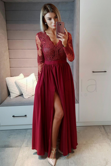 Elegant Burgundy A Line Prom Dress with Slit, Appliques Prom Party Dress, Long Evening Dress