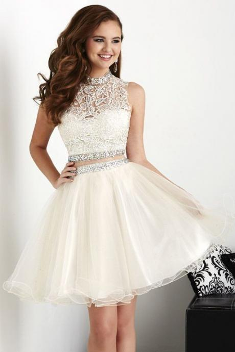 Elegant Tulle Short Homecoming Dress with Appliques Two Piece Prom Dress, Pretty Graduation Dress for Teens