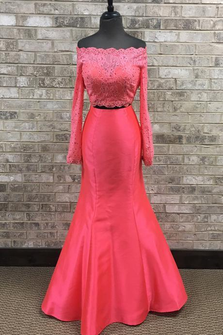 Long Sleeve Beaded Two Piece Appliques Formal Evening Dress, Elegant Watermelon Long Evening Gown