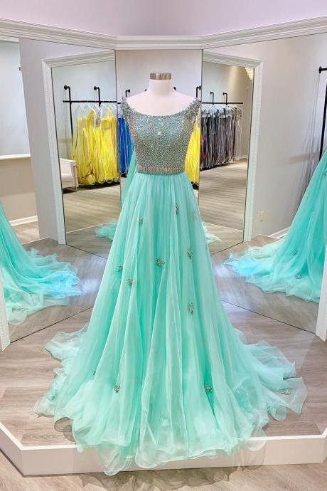 Gergeous Beading Tulle Green Long Evening Dress, Formal Prom Dresses