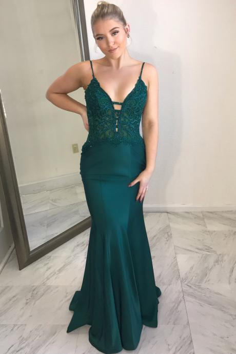 Sexy Spaghetti Straps Appliques Mermaid Prom Dress, Long Evening Dress
