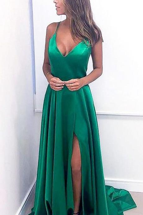 Charming Spaghetti Straps Green Slit Prom Dress, Long Evening Dress