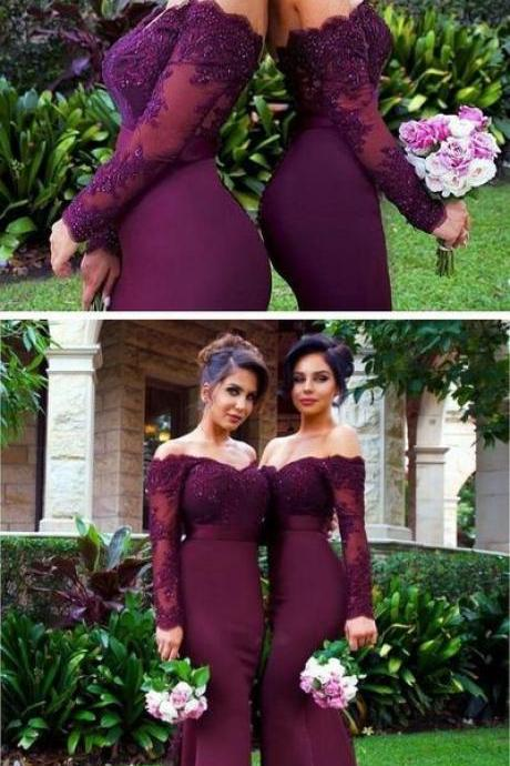 Appliques Long Sleeve Lace Burgundy Mermaid Bridesmaid Dresses, Beaded Wedding Party Dress