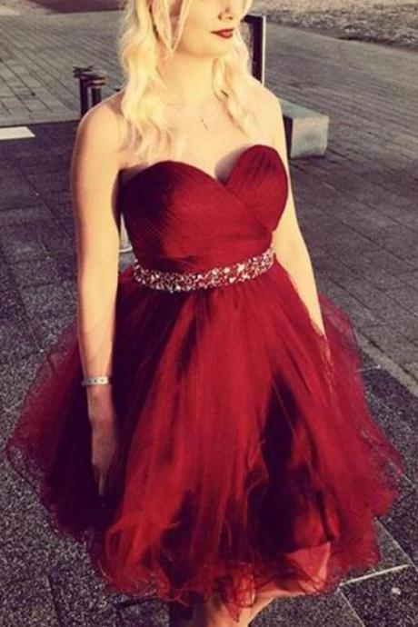 Sweetheart neck Tulle Short Homecoming Dress, Red Prom Dress with Beads Belt