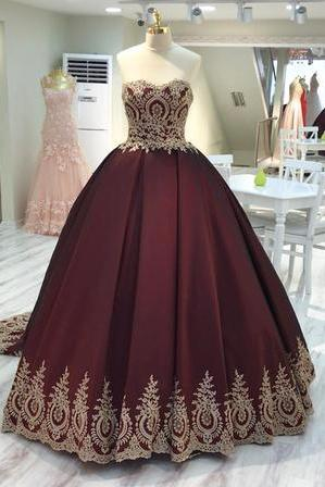 Charming Strapless Appliques Ball Gown Prom Dress, Elegant Quinceanera Dresses, Formal Evening Dress