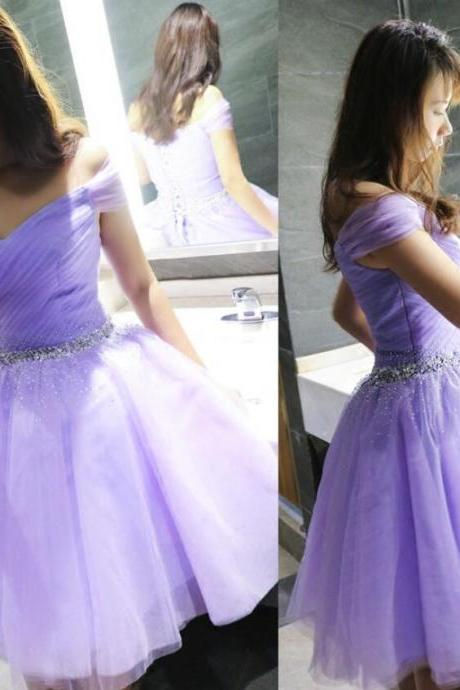 Off Shoulder Purple Tulle Short Prom Dress, Pleated Homecoming Dress, Graduation Party Dress