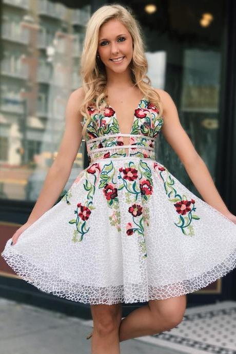 Princess V Neck Short White and Floral Embroidery Prom Dress, School Dance Dress