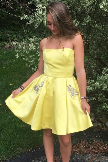 Cute Yellow Satin Short Prom Dress, Strapless Homecoming Dress