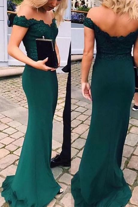 Charming Off Shoulder Green Appliques Mermaid Prom Dress, Long Evening Dress
